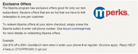 Meijer: Mperks Text Message Coupons And Alerts - Deal