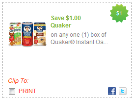New 1 Off Quaker Instant Oatmeal Printable Coupon Deal