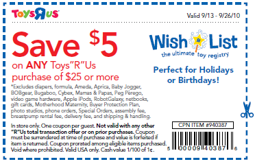 picture about Printable Toysrus Coupon named Fresh new Toys R Us $5 off $25 Invest in Coupon