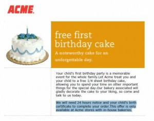 Acme Supermarkets FREE 14 Sheet Cake for 1st Birthday