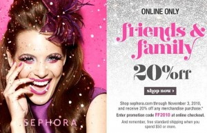 Sephora Friends & Family 20%