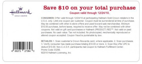 Hallmark $10 coupon