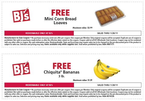 bjs printable coupons bjs free mini corn bread loaves chiquita bananas 20619