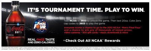 my coke rewards ncaa text-to-win sweepstakes