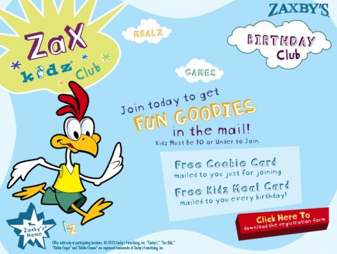 image regarding Zaxby's Coupons Printable identify Zaxbys: Free of charge Kidz Evening meal upon Their Birthday!
