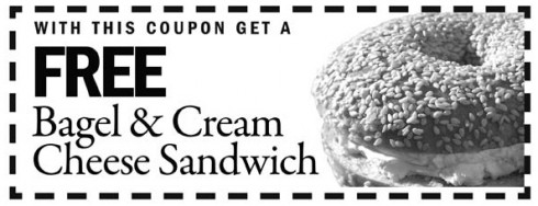 brueggers free bagel & cream cheese sandwich