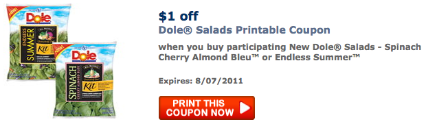 graphic regarding Krystal Printable Coupons identified as Contemporary $1 off Dole Salads Printable Coupon (Free of charge Salad!) - Bundle
