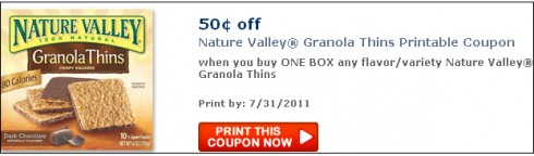 graphic regarding Nature Valley Printable Coupons identified as Contemporary $0.50/1 Character Valley Granola Thins Coupon ($1.50 at
