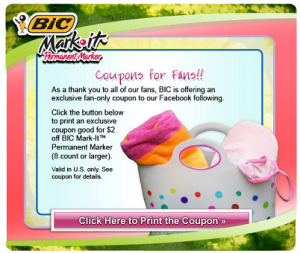 Bic MarkIt Facebook Coupon