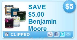 image about Benjamin Moore Paint Coupons Printable identified as $5 Off Benjamin Moore Paint Printable