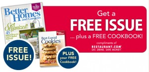 Better Homes & Gardens FREE issue and cookbook
