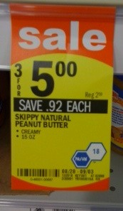Skippy Peanut Butter Unadvertised Deal