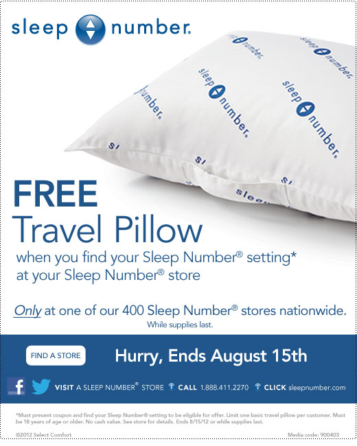 FREE Sleep Number Travel Pillow - Deal Seeking Mom