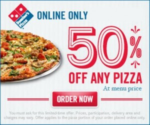 Check out this week's official Dominos coupons for a 50% off promo code to use on online orders, or printable coupons to use at your nearest pizza chain. New pizza coupons are available each week! Save up to half off or get freebies with your order.