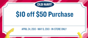 picture relating to Old Navy Printable Coupon titled $10 off $50 Outdated Armed service Acquire Printable Coupon - Package deal
