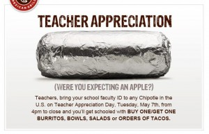 image about Chipotle Printable Coupon called Chipotle B1G1 Instructor Appreciation Working day (5/7)