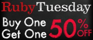 photo about Ruby Tuesday Printable Coupons titled Ruby Tuesday B1G1 50% Off Coupon