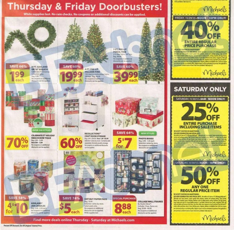 We posted the 8-page Michael's Black Friday ad on November 16, which is later than usual. As usual, the star of the sale is an assortment of coupons that can be found on pages 2 and 3. On Thanksgiving, receive 30% off your entire purchase with code THANKST from 6 pm until Midnight.4/5(1).
