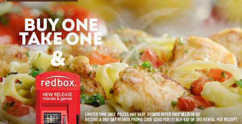 Olive Garden Buy 1 Take 1 Bonus Free Redbox Rental