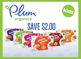 picture about Plum Organics Printable Coupon named Plum Organics Pizza Minis $0.33 at Concentration