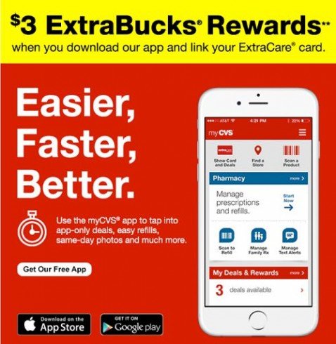 get 3 extra care bucks bonus with cvs app download. Black Bedroom Furniture Sets. Home Design Ideas