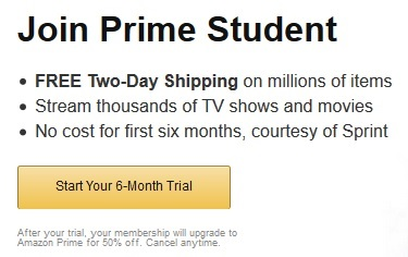 amazon prime student subscription