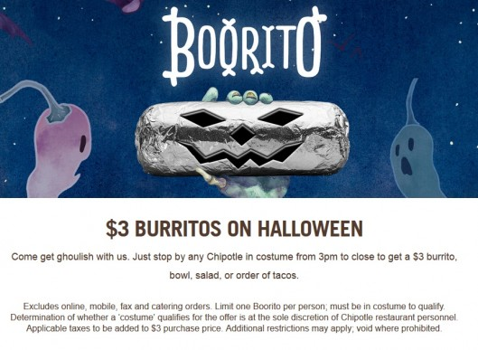 Chipotle Burrito $3 on Halloween (10/31)