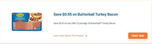 image about Butterball Coupons Turkey Printable referred to as Butterball Turkey Bacon $0.95 at Walgreens! - Package deal Looking for Mother