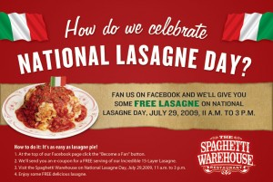 Spaghetti Warehouse Free Lasagne Coupon