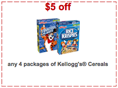 graphic about Printable Cereal Coupons named $5 off 4 Bins Kelloggs Cereal Printable Coupon - Bundle