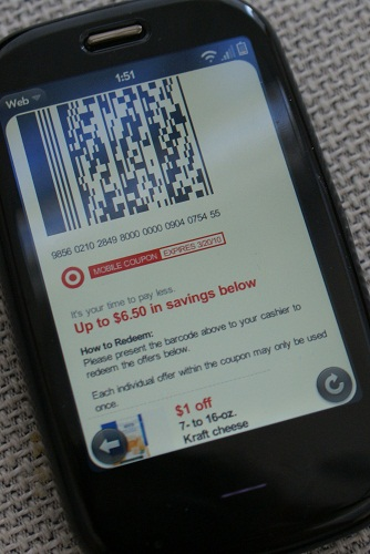 Target Mobile Coupons on the Palm Pre Plus